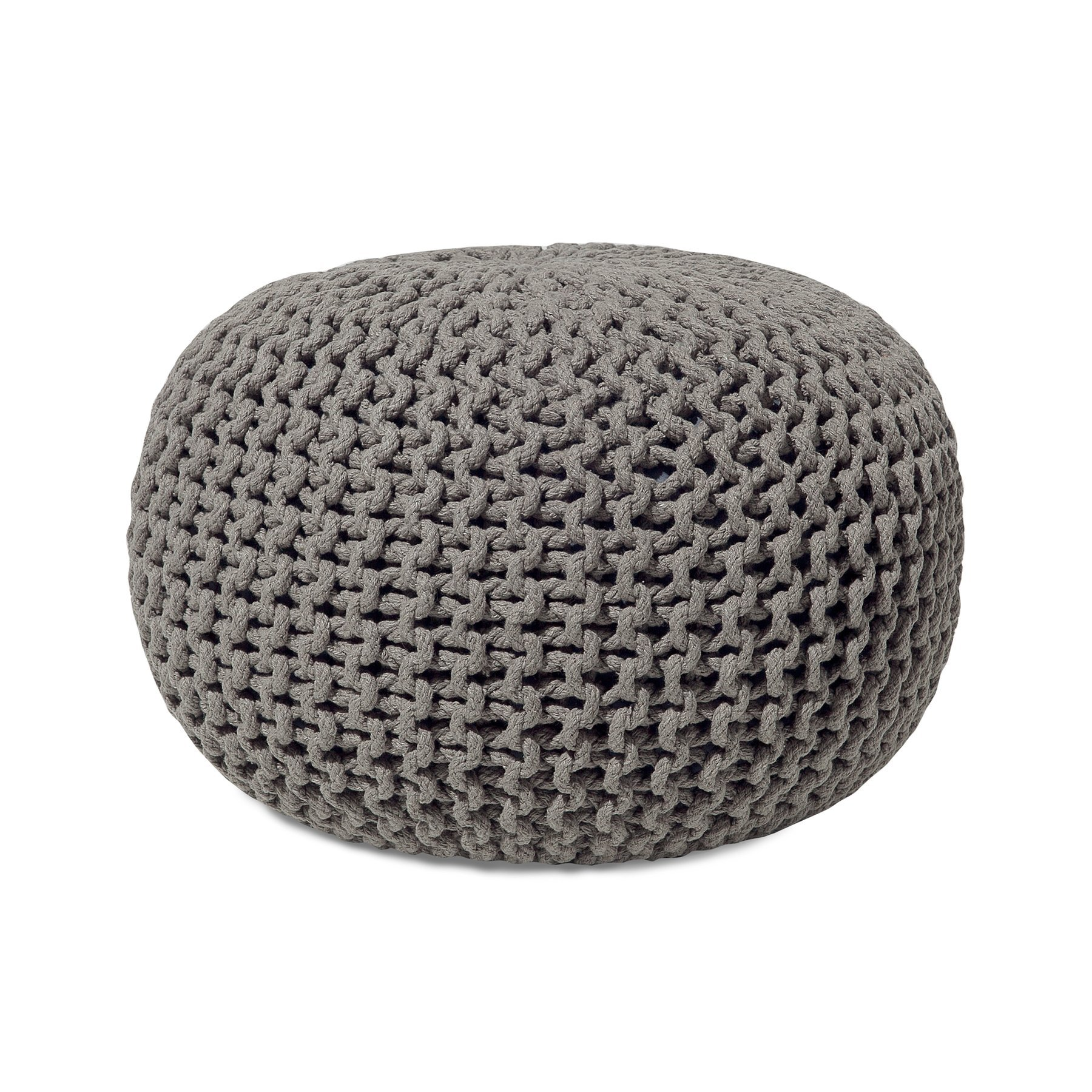 Beliani Modern Knitted Round Pouf Ottoman Soft Cotton Dark Gray 20-inch Conrad