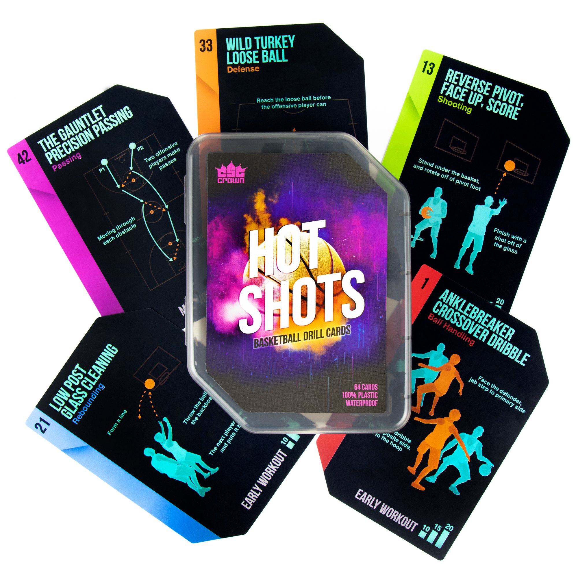 Crown Sporting Goods Hot Shots Basketball Drill Cards, 64 Waterproof Plastic Cards - Includes 45 Guided Drills, 9 Archetype Workouts, 5 Games, 5 Info Cards - Great for Skills Training & Coaching