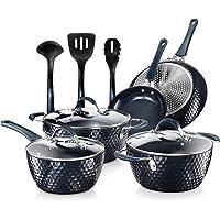Nutrichef Nonstick Cookware Excilon Home Kitchen Ware Pots & Pan Set with Saucepan Frying Pans, Cooking Pots, Lids…