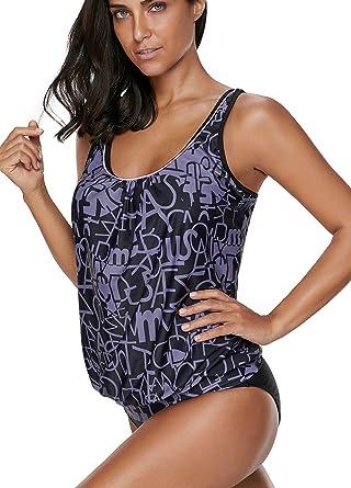 25c1ad3bf21e5 crazycatz@Women Two Piece Blouson Sporty Tankini Set Plus Size Swimwear at  Amazon Women's Clothing store: