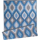 DII Contemporary Indoor/Outdoor Lightweight, Reversible, Fade Resistant Area Rug, Use For Patio, Deck, Garage, Picnic, Beach, Camping, BBQ, Or Everyday Use - 4 x 6', Blue Ikat