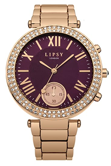 0877f713 Image Unavailable. Image not available for. Colour: Lipsy Women's Quartz  Watch with Red Dial Analogue Display and Rose Gold Plated Bracelet LP403