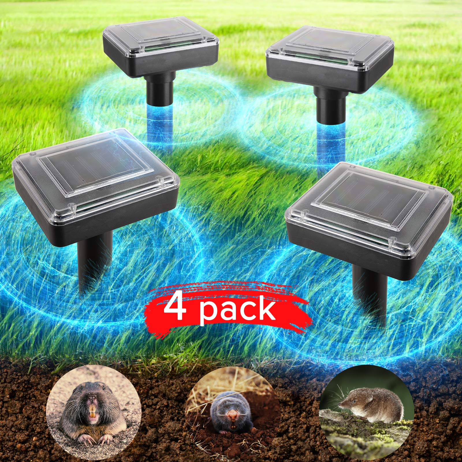 JIA LE Upgrade Mole Repellent, 4 Pack Ultrasonic Animal Repellent Solar Powered Gopher and Vole Chaser Humane Rodent Repeller (Black) by JIA LE