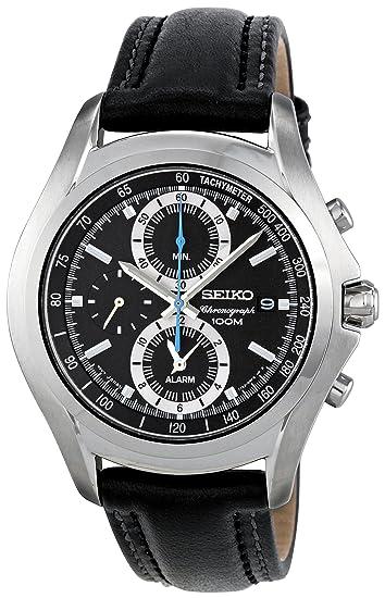 Seiko SNAE85P1 - Reloj cronógrafo de cuarzo para hombre, correa de cuero color negro: Amazon.es: Relojes