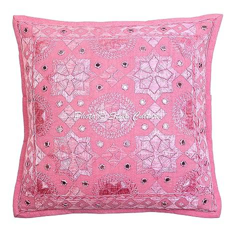 Amazon.com: Indio de algodón cojín 16 x 16 rosa espejo ...