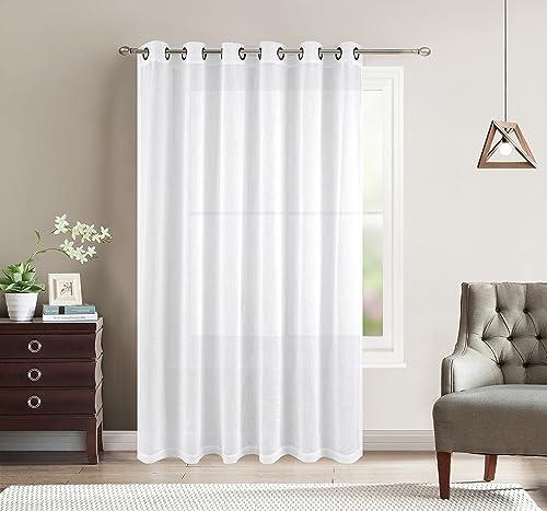 BETTER HOME USA BHU Wide Width Sheer Curtains Linen Look Sheer Curtain