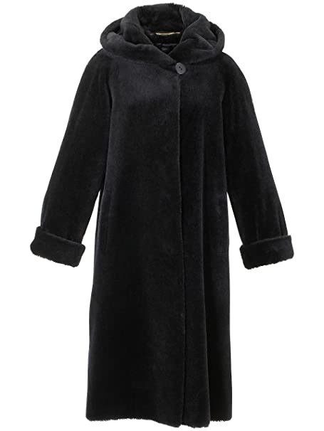 PETER HAHN Damen Kapuzen Mantel aus em Brillant Alpaka