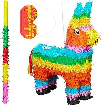 Pinatastab /& Augenmaske Donkey Piñata Stock /& Maske 3 tlg Pinata Set Esel bunt