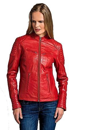 Urban Leather Corto Biker - Chaqueta de piel, Mujer, rojo, medium: Amazon.es: Coche y moto