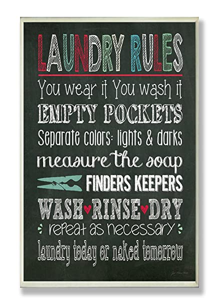 Stupell Home Décor Laundry Rules Typography Chalkboard Bathroom Wall  Plaque, 10 X 0.5 X 15