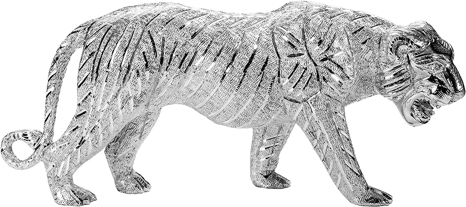 KMG Aluminum Tiger Statue Decor - Completely Handcarved Sculptures & Polished - 10 Lbs, 16 inch Long Sculpture for Home Decorations, LSU Mascot, Living Room & Office Decor on Special Occasions.