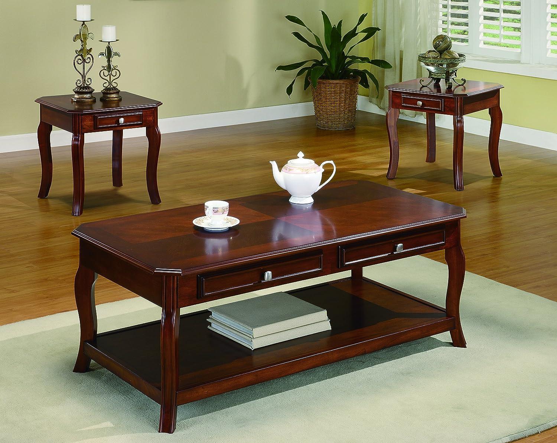 Coaster Home Furnishings 3 Piece Table Group Warm Bourbon Finish