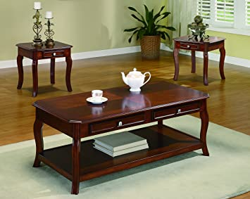 Good Coaster Home Furnishings 3 Piece Table Group Warm Bourbon Finish