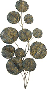 Atelier Abstract Botanical Metal Wall Art, Bouquet of Leaves and Long Stems, Antique Copper Finish , Distressed With Rubbed In Gold, Blue and Black Accents, 22.75 W x 45.25 H Inches