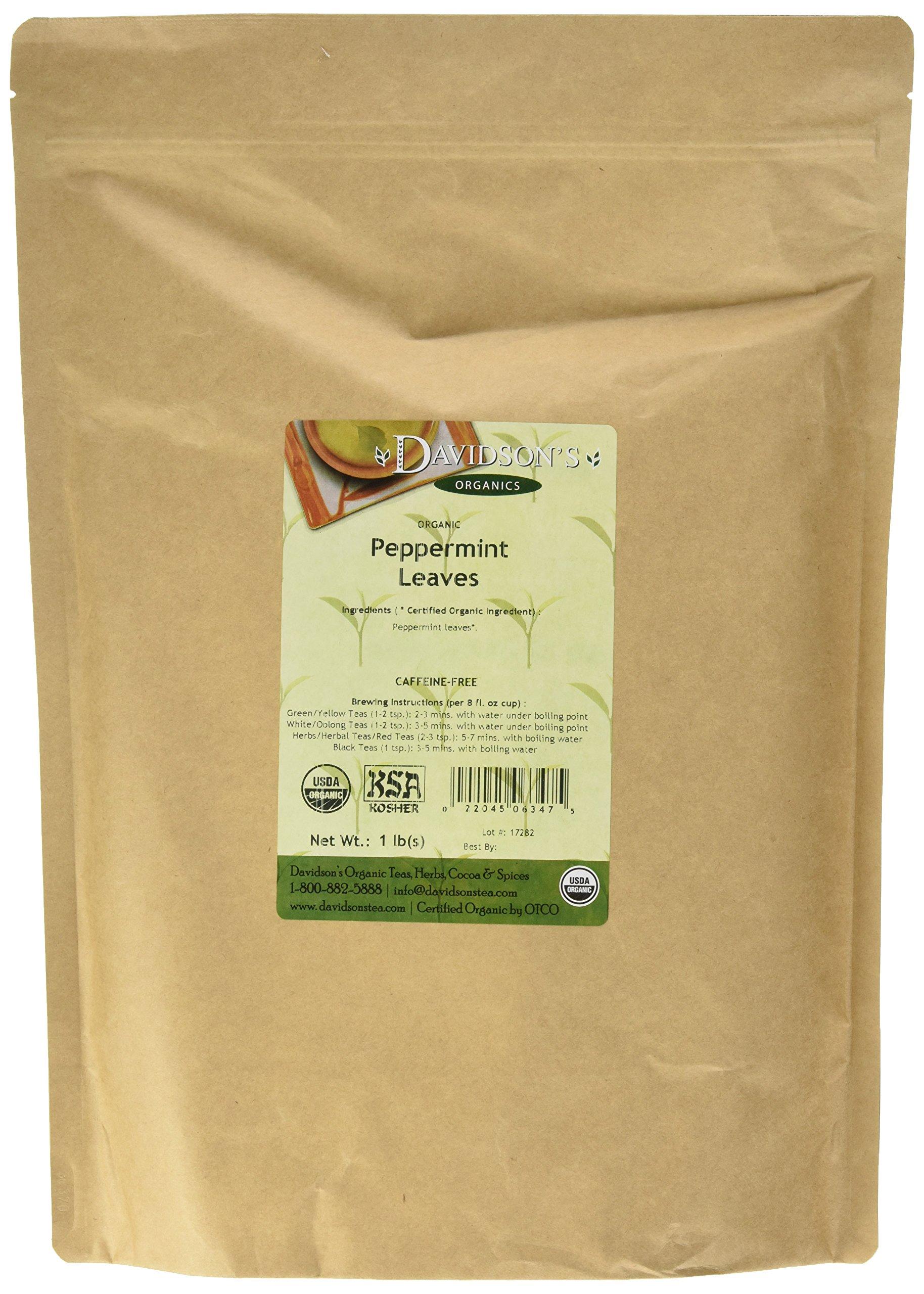 Davidson's Tea Bulk, Organic Peppermint Leaves, 16-Ounce Bag by Davidson's