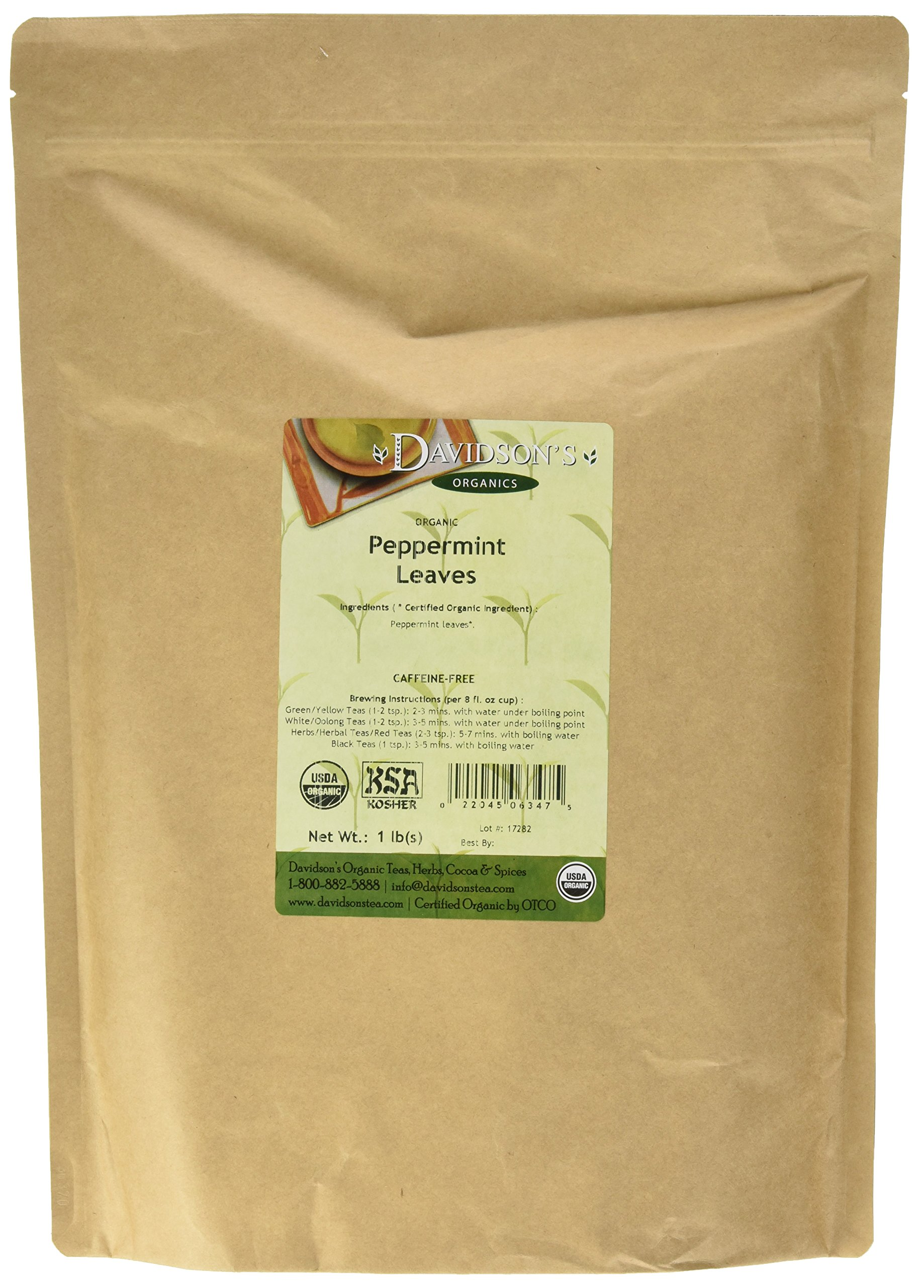 Davidson's Tea Bulk, Organic Peppermint Leaves, 16-Ounce Bag