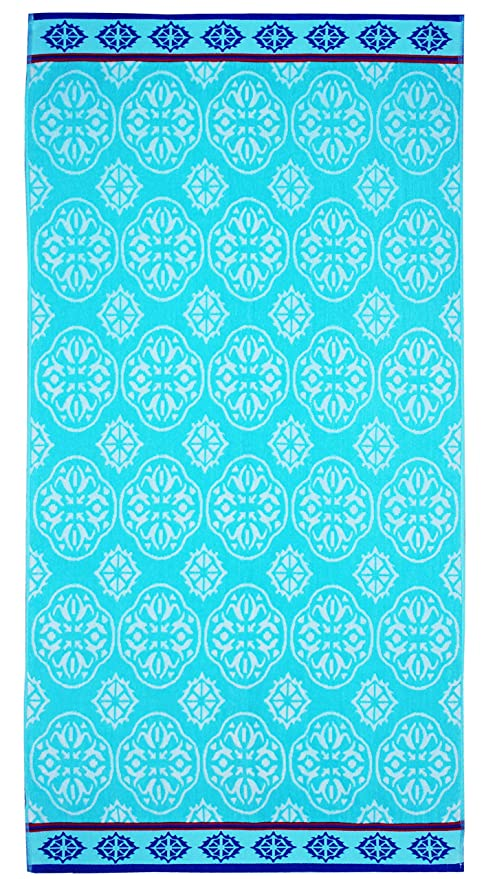 Cotton Craft - Oversized Woven Velour Beach Towel - Huge 58x68-inch Size - 100% Cotton - Plush Beach Blanket - Swim Towel for Two - Summer Trellis best beach towel