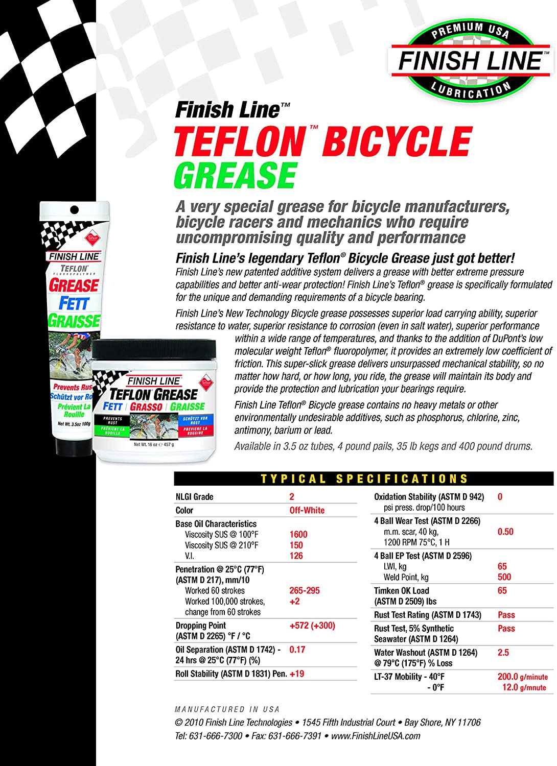 Finish Line Teflon Grease (Premium Synthetic) - Grasa para Bicicletas, Talla 457gr: Amazon.es: Deportes y aire libre
