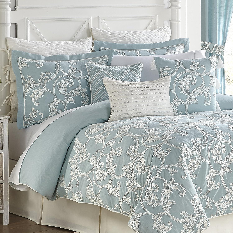 Croscill Willa Comforter Set, California King, Soft Aqua