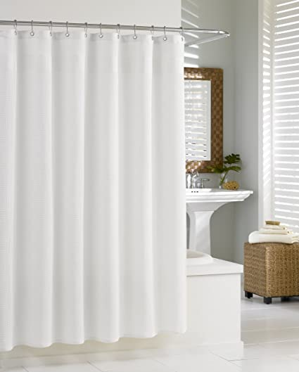 Amazon Kassatex SCS 115 WAF W Waffle Shower Curtain White