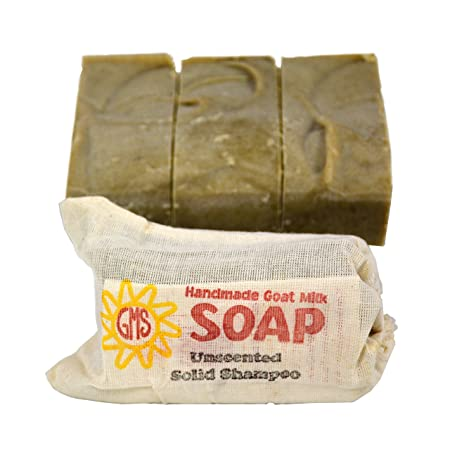 Goat Milk Soap – UNSCENTED SOLID SHAMPOO. All-Natural, Handmade by Goat Milk Stuff. Bars 5 oz. each, 4 Count