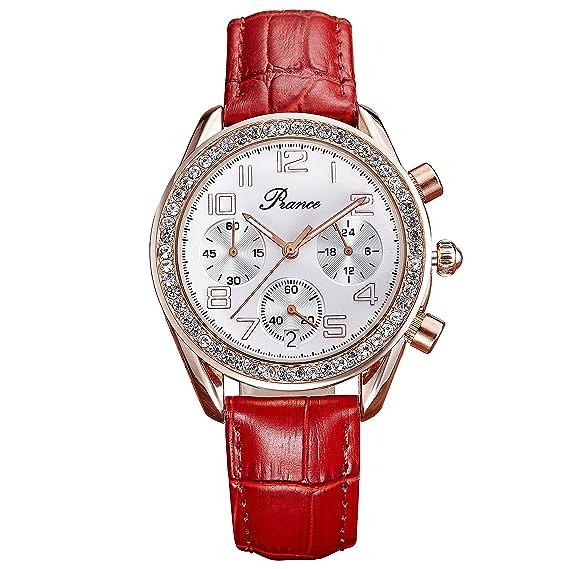 piance FECHA de cuarzo de las mujeres de moda reloj de pulsera con banda de cuero