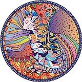 Bgraamiens Puzzle-Mandala Cat-1000 Pieces Animal Puzzle Color Challenge Round Mandala Cat Jigsaw Puzzles