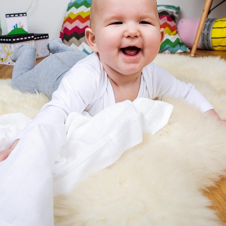 Moltont/ücher Extra Saugf/ähig Flauschig Weich OEKO-TEX Zertifiziert 100/% Bio-Baumwolle Doppelt Gewebt 80x80cm Premium Baby Mullwindeln Spuckt/ücher 10er Pack Wei/ß von emma /& noah