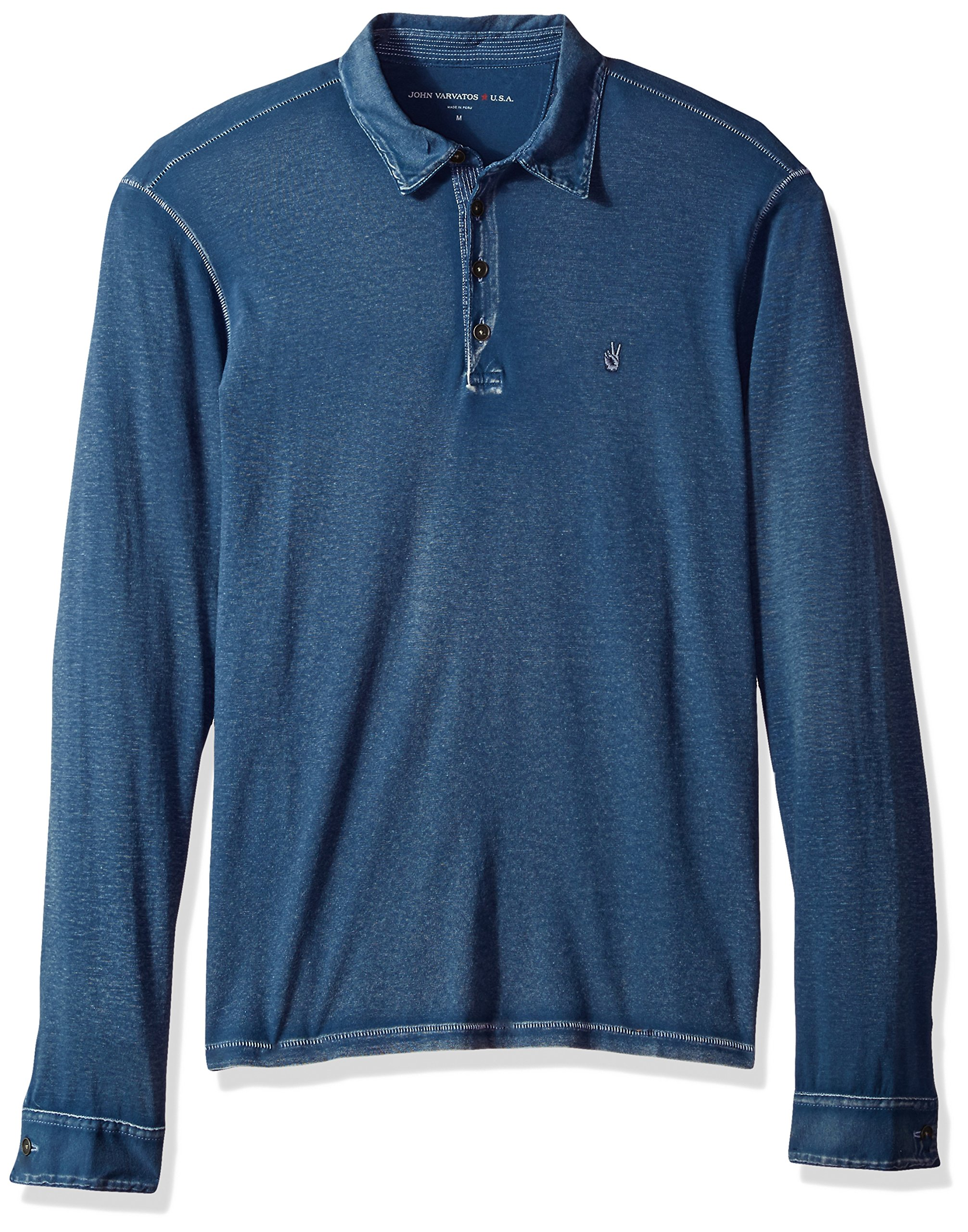 John Varvatos Men's Long Sleeved Polo AQP4B 409, Storm Blue, Large