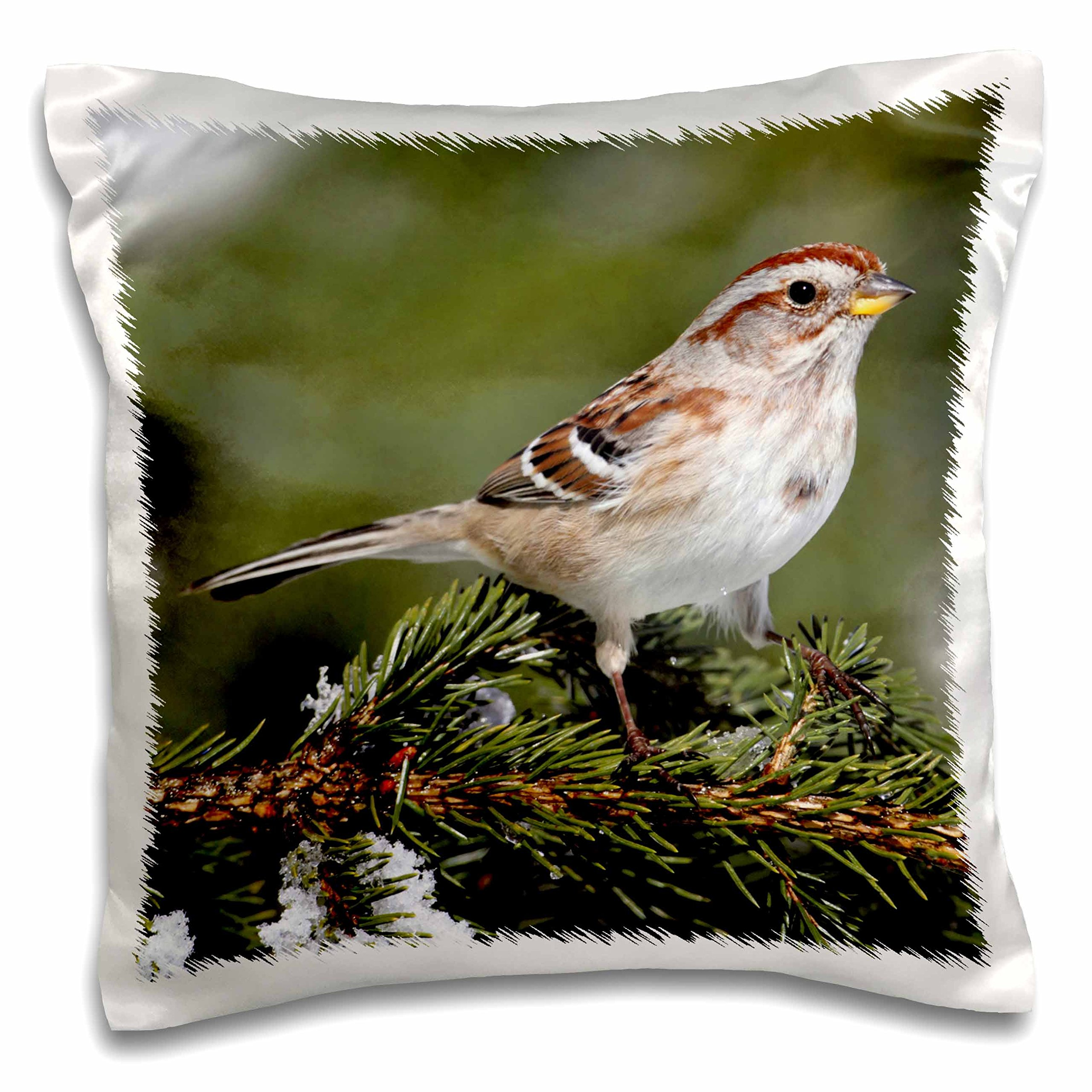 3D Rose American Tree Sparrow Spizella Arborea Bird Photo Animal Photography Design Pillowcase, 16'' x 16''