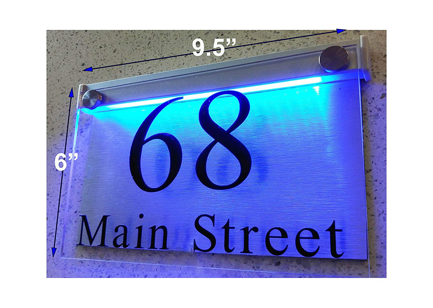 Thedisplaydeal led illuminated modern house numbers address plaque 9 5x6x1 rectangle clear acrylic and brushed aluminum background double panel