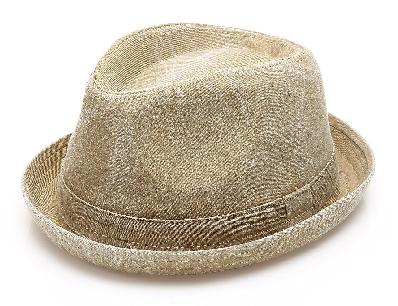 MIRMARU Men's Denim Washed Cotton Casual Vintage Style Fedora Sun Hat