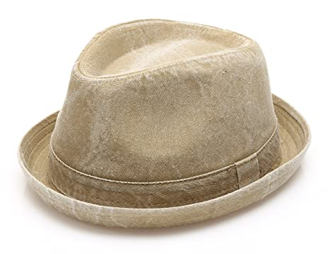 MIRMARU Men s Denim Washed Cotton Casual Vintage Style Fedora Sun Hat  (Olive ... bedfb49648ce