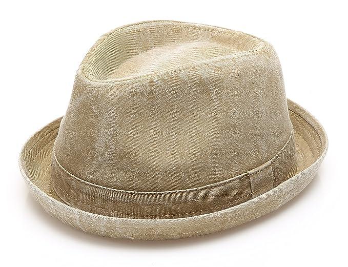 MIRMARU Men s Denim Washed Cotton Casual Vintage Style Fedora Sun Hat (Olive  ... 956882da1af1