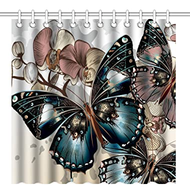 Wknoon 72 x 72 Inch Shower Curtain, Awesome Colorful Butterflies Art, Waterproof Polyester Fabric Decorative Bathroom Bath Curtains