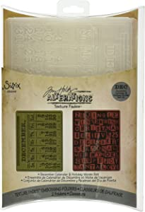 Sizzix 656941 Texture Fades Embossing Folders, December Calendar & Holiday Words Set by Tim Holtz, Pack of 2, Multicolor