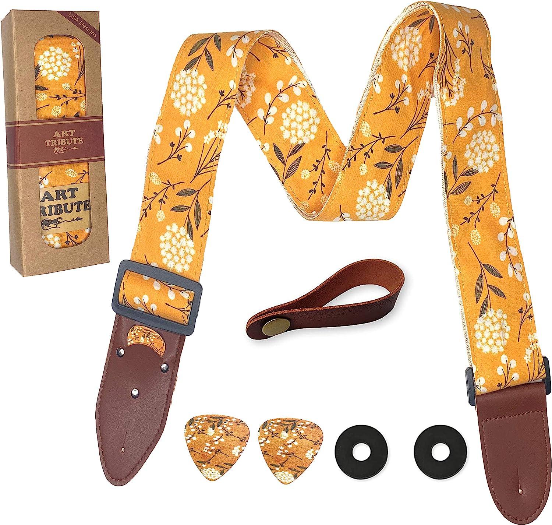 Correa de guitarra Algodón Amarillo Flores de flor de primavera Incluye 2 selecciones + cierres de correa + botón de correa. Para bajo, guitarra eléctrica y acústica. un regalo para hombres y mujeres