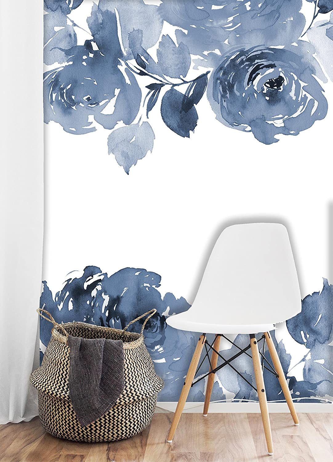 Removable Wallpaper Mural Peel Stick Blue Watercolor Spring