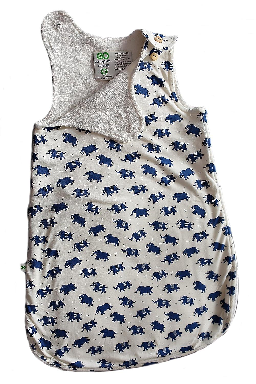 Babyschlafsack 100% Bio-Baumwolle GOTS Ganzjahres Schlafsack Ä rmellos 2.5 Tog 0-6 Monate 60cm oder 6-18 Monate 80cm (60cm / 0-6 Monate, Elefant) Ege Organics