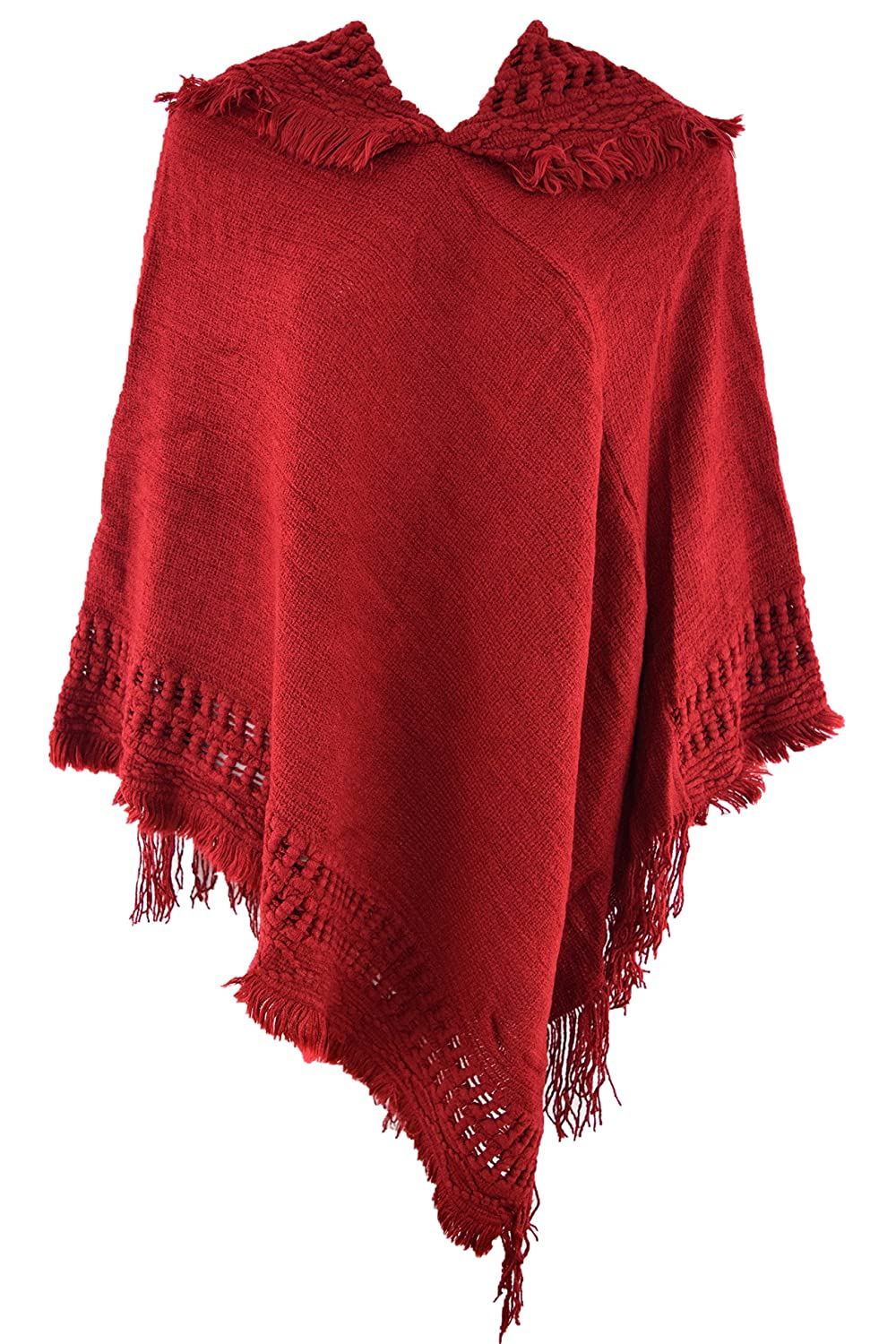 HY Women Batwing Tassels Poncho Cape Winter Knit Hats Sweater Cloak Outwear Red