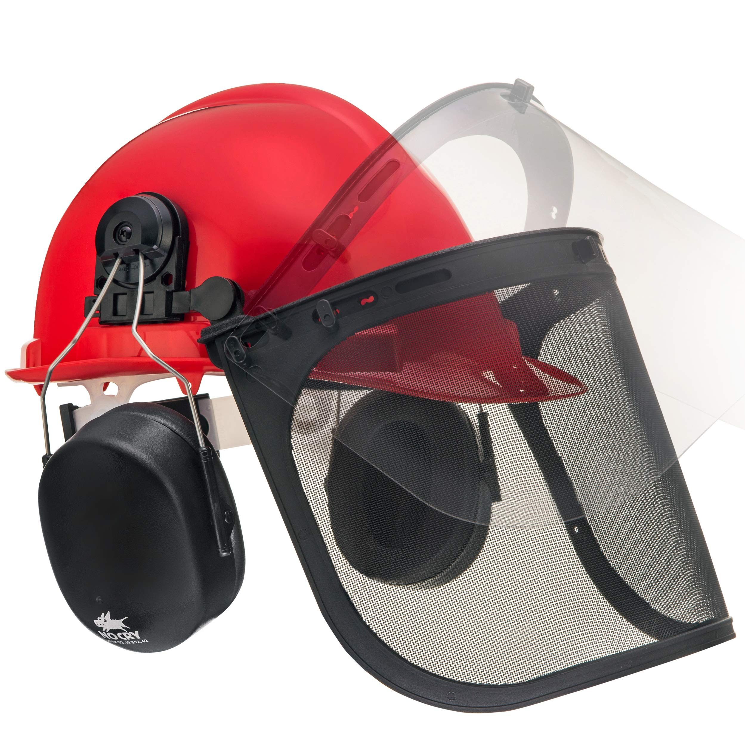 NoCry 6-in-1 Industrial Forestry Safety Helmet and Hearing Protection System with Two Protective Visors by NoCry