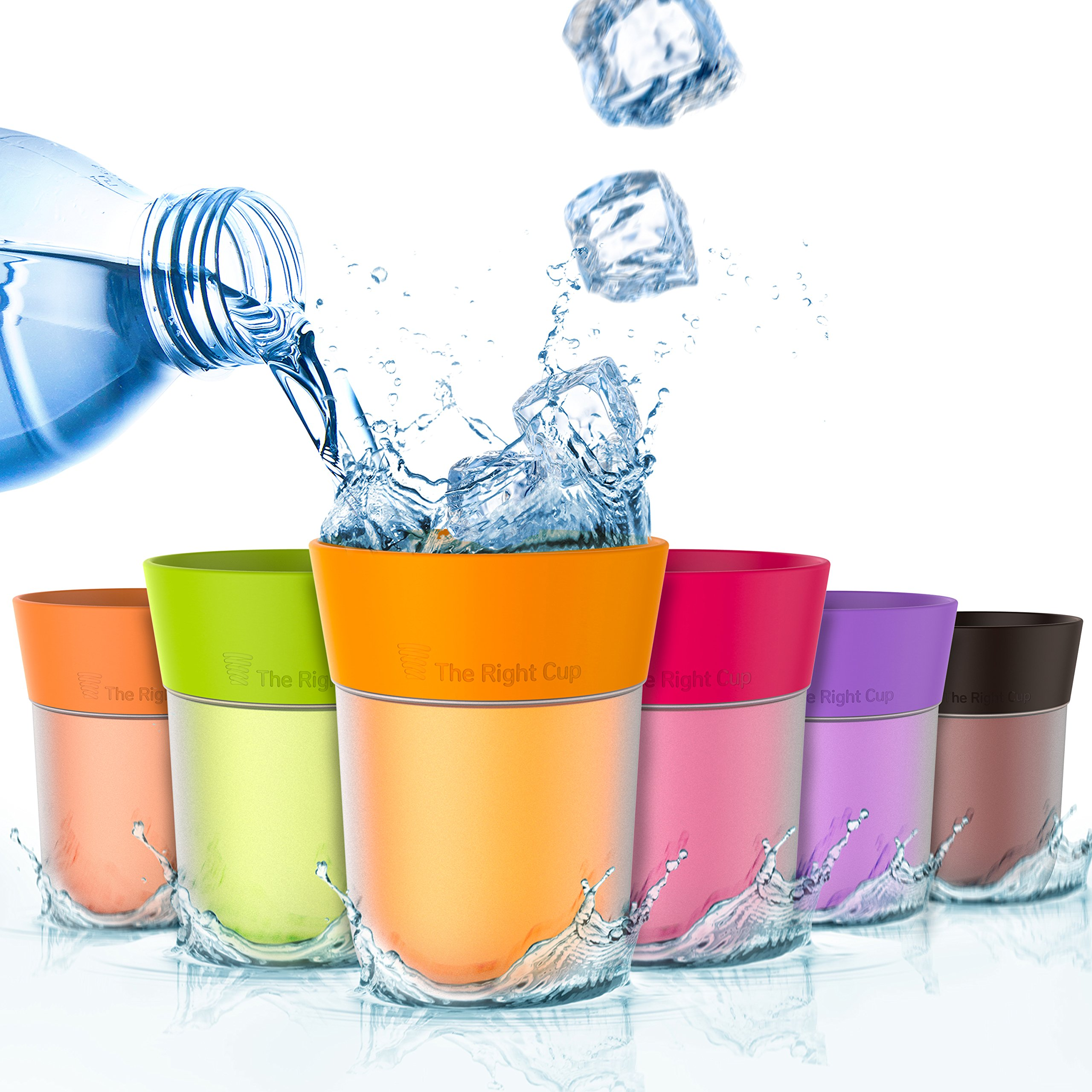 Flavor Enhancing water Cup- Pack of 6 flavored cups - Orange, Cola, Berry, Apple, Peach and Grape. Helps you drink water instead of soda. by The Right Cup