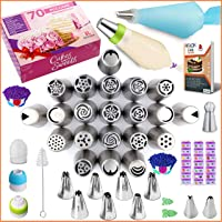RFAQK- 70 Pcs Russian piping tips set with storage case - Cake decorating supplies kit - 28 Numbered easy to use icing…