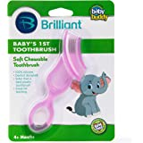 Brilliant Baby's 1st Toothbrush Teether - Premium Silicone First Toothbrush for Babies and Toddlers - Kids Love Them…