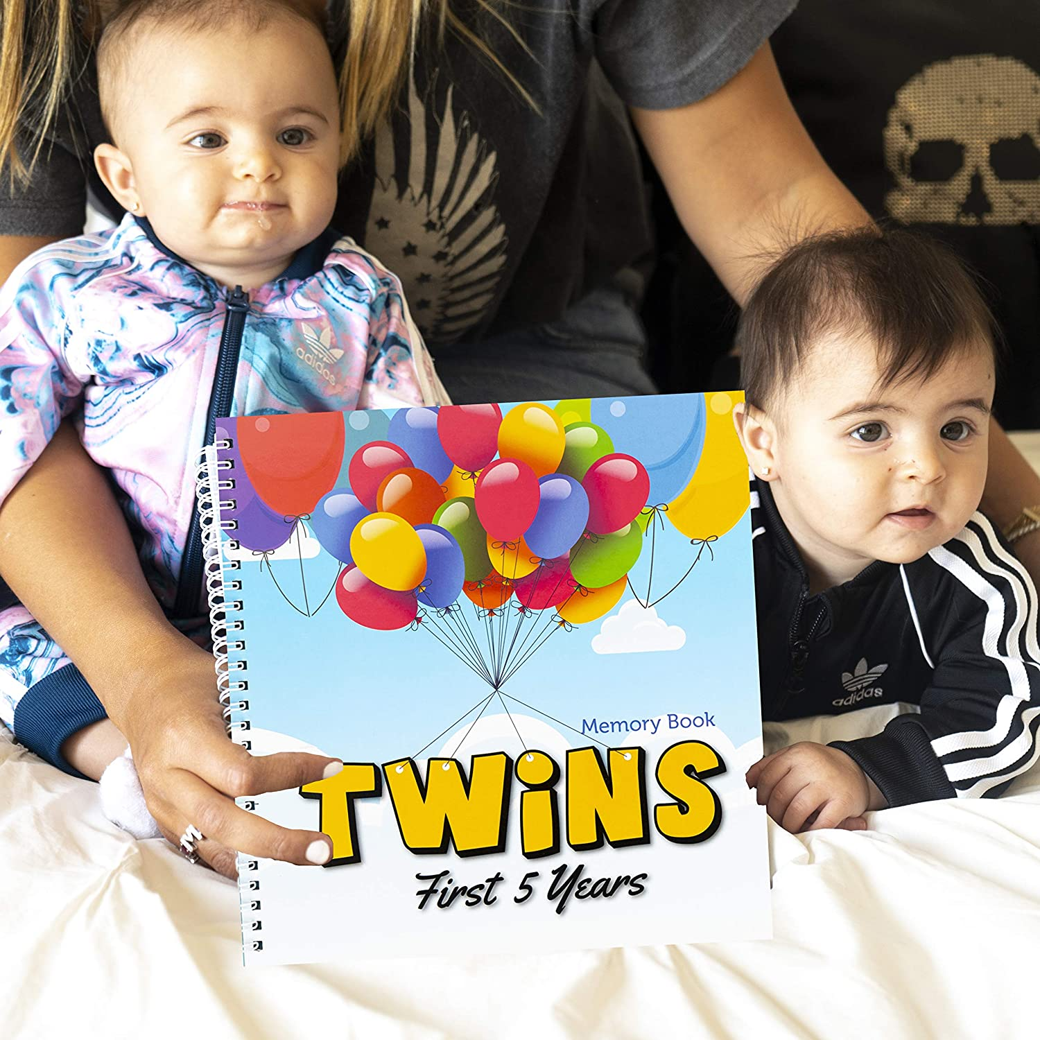 Newborn Hard Cover Journal Twins First 5 Years Memory Book with Stickers The Adventure Edition Babies Personalized Keepsake Scrapbook Diary Baby 1st Year Milestone Photo Album for Mom /& Dad