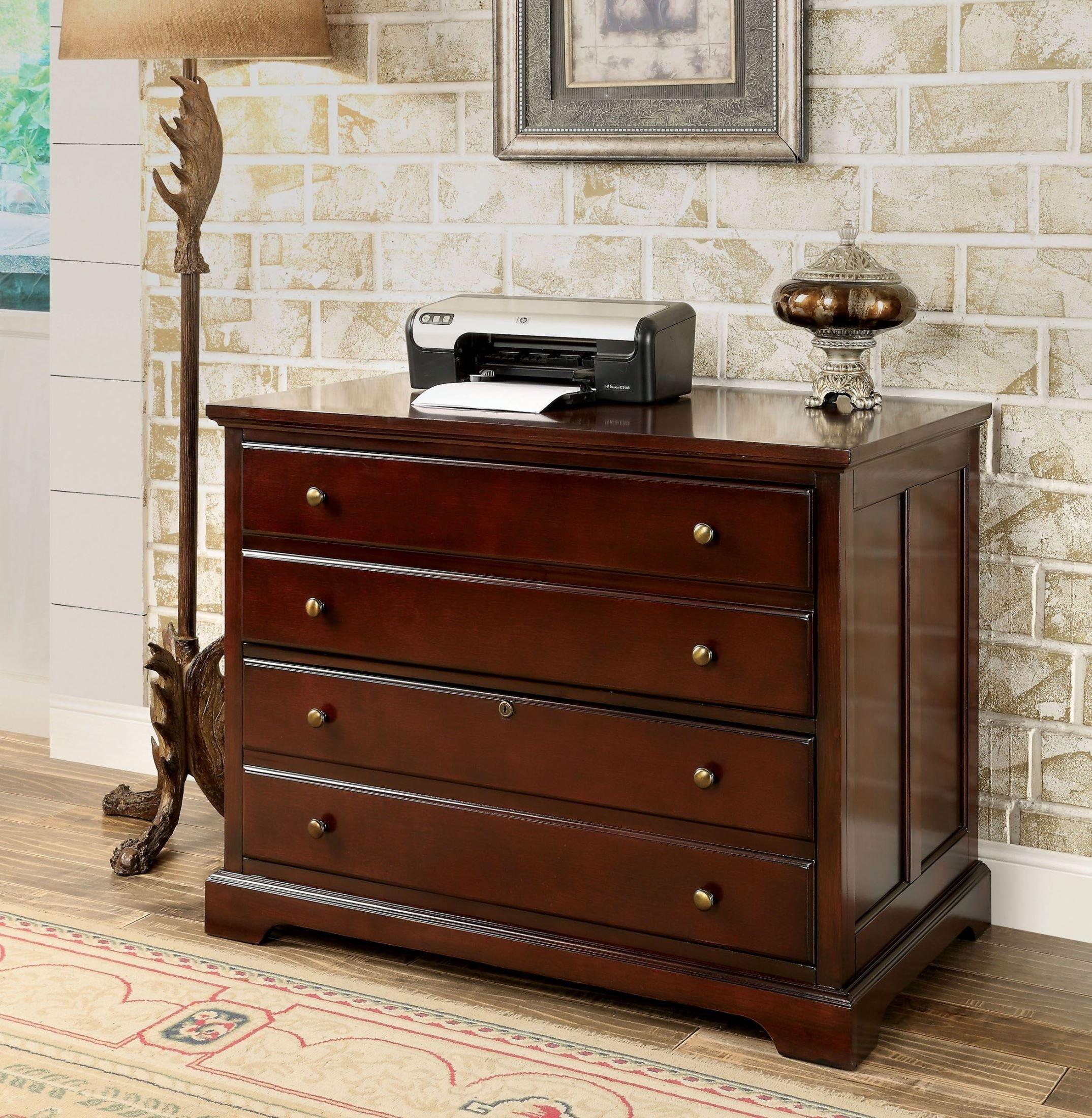 Furniture of America CM-DK6207C Desmont Cherry File Cabinet Miscellaneous-Home Office Desk