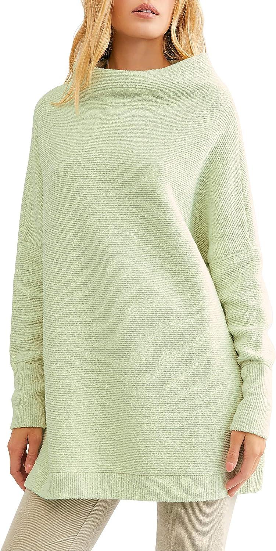 Free People Ottoman Slouchy Tunic Sweater (Light Green) at Amazon Women's  Clothing store