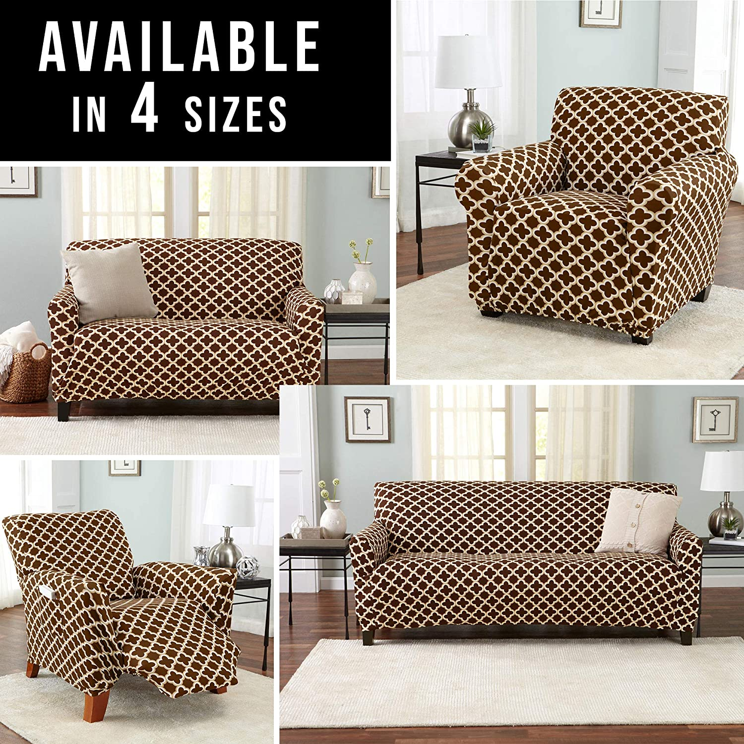 Home Fashion Designs Printed Twill Love Seat Slipcover Brenna Collection Slipcover./ Love Seat, Beige Strapless Love Seat Cover for Living Room One Piece Stretch Loveseat Cover