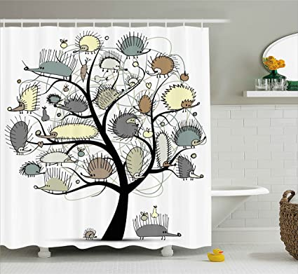 Ambesonne Animal Decor Shower Curtain By Cartoon Drawn Cute Little Hedgehogs On A Tree With