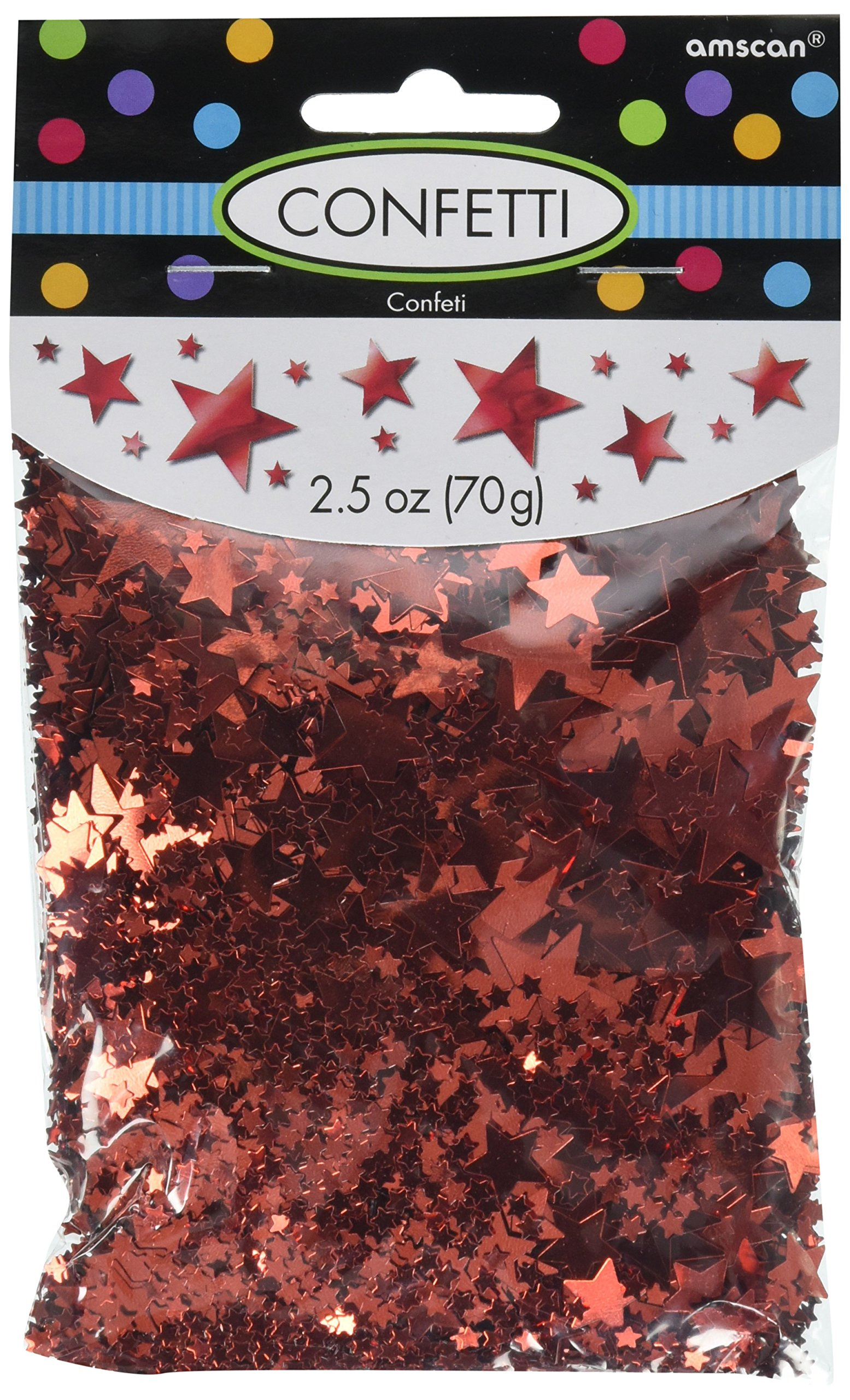 Amscan Party Fun Decorations Metallic Star Confetti Pack, Red, Foil, 0.25 Ounces Childrens (12 Piece)
